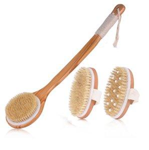 Natural Bristle Bath Brush Brushes Long Bamboo Handle Bathing Body Brush Exfoliating Massage Dry Brushs Set Shower Brush