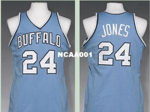 Vintage Hommes Buffalo # 24 Wil Jones 1977-1978 Route RETRO Accueil tissu maille pleine broderie Taille S-4XL ou sur mesure tout nom ou le numéro Jersey College