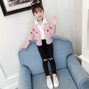 uG1Qx Children's cardigan knitted coat 2019 New Girl's base Coat Underpants sweater shirt Korean-style Western-style sweater for medium and