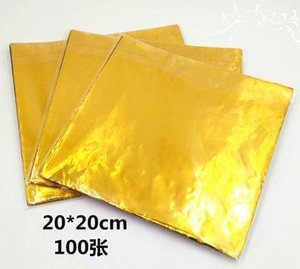 100PCS LOT New Arrive Big Chocolate Package Tin Foil Baking Paper Golden Sugar Wrapping Paper Egg Tea Packing 20*20cm