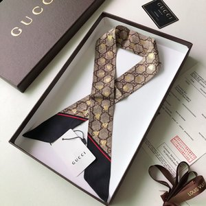 2020 High-end Donna Moda Design Legato Borsa delle signore della sciarpa piccolo nastro arco Foulard in seta sciarpe dell'involucro colori Factory Outlet A11029