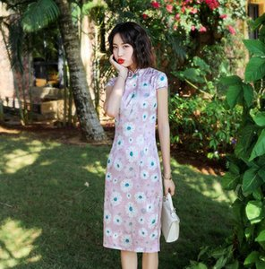 New Arrival Pink Sexy Slim Chinese Dress Chinese Qipao Oriental Styled Dresses Satin Style Modern Flower Print Cheongsam