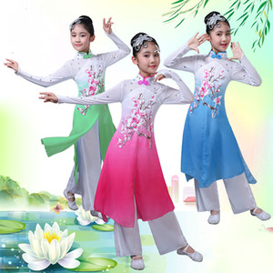 child chinese folk dance costume girl performance fan dance costume chinese classic umbrella outfit for stage 90