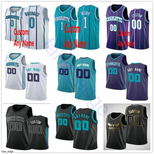 Screen Printed Custom CharlotteHorntes Terry 3 Rozier III 5 Nicolas Batum 1 Malik Monk Cody Martin 0 Miles Bridges Basketball Jersey