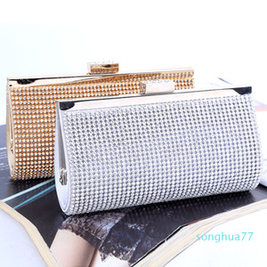 Designer- Retaill Wholesale brand new handmade noble diamond evening bag clutch with satin for wedding banquet party porm