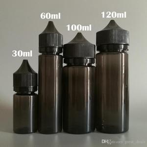 Botella negro Chubby gorila forma de la pluma del unicornio PET 30ml 60ml 100ml 120ml Con Tamper Evident Caps para E Liquid Vape jugo Botellas de plástico