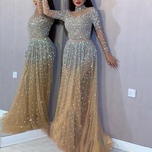 Sexy bronce, de manga larga Danza elegante temperamento brillante vestido delgado del cuello alto vestido de gala con lentejuelas