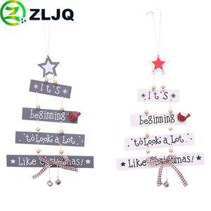 ZLJQ Multicolor Letters Wooden Pendant Christmas Tree Ornaments Party Decorations Creative Xmas Home Decor Supplies Navidad 6J