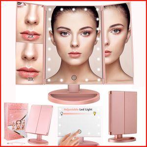Tríptico de la vanidad del maquillaje Espejo con 22 luces LED 3X / 2X Ampliación táctil del espejo de rotación de la pantalla de la belleza del LED encendió espejos Cosméticos