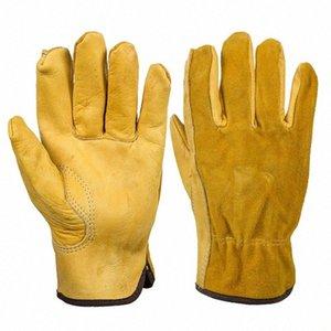 Echter Leder-Arbeitshandschuh Anti-Rutsch-Treiber Garten-Handschuhe für mechanische Reparatur Fahrzeug-25 Yemm #