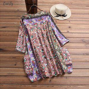 Casual Womens Tops And Blouses O Neck Patchwork Random Floral Print Long Sleeve Vintage Top Blouse Women Plus Size 1228