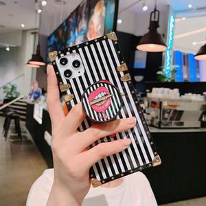아이폰 12 11 프로 XS 최대 XR X 7 8 플러스 럭셔리 디자이너 소프트 TPU 브라켓 커버 전화 홀더 스탠드 대리석 케이스