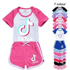7 cores Tik Tok vibrato crianças meninos e meninas de manga curta + calções T-shirt desportos de lazer das crianças atender 215 Kids Clothing