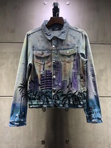 2020 Mens Designer Top quality Casual Mens Denim Jacket Mens Denim Coat Hip Hop Skinny Slim Men Holes Denim Coats Blue Bomber Jacket