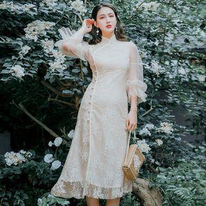 Elegante del cordón vestido cheongsam mejorado mujeres Vestido tradicional china moderna del estilo oriental atractiva QiPao vestido de noche