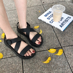 Ins Style Korean Black Women Plat Form Sandals Cool Rope Casual Sport Sandals Harajuku Girls Student Beach Slippers Rubber
