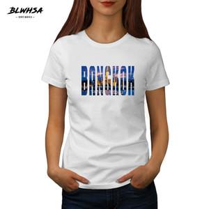 T-shirt Hop Impressão New Bangkok T Shirt Mulheres Tailândia Cidade Bangkok manga curta Verão T Shirts Hip Para Mulheres Moda