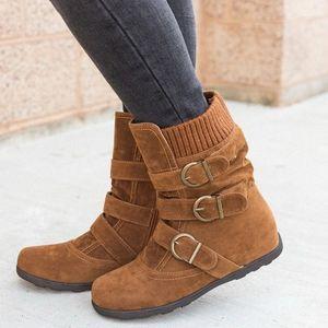 Shujin обувь Женщины Теплый Flat Mid теленок Boots Flock круглый носок Женский Boot Bottom Plue размер 34 43 Короткие хлопчатобумажных Зимняя обувь Мода B7ya #