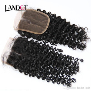 Mongolian Curly Lace Closure Free Middle Part Mongolian Virgin Human Hair Closure 4x4 Natural Black 130% Density Deep Kinky Curly Closures
