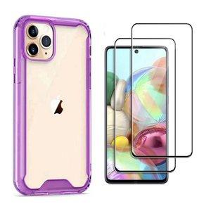 Für LG Stylo 6 5 4 K51 Aristo 3 5 Tribute Monarch Durchlässiger Acryl-Telefon-Kasten Stoß- Anti-Tropfen-Runde Kante + Full Cover Glass