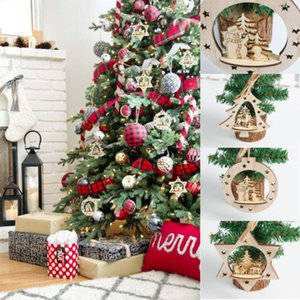 New 3D Pendants Hanging Wooden Christmas Tree Ornament Decorations Xmas Home Party Decor Holiday Gifts