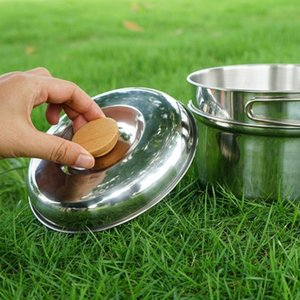 Outdoor Cookware Camping Pot Folding Tableware Cup With Lid Foldable Handle Hiking And Camping Camping & Hiking Tourism TablewareDfCm#
