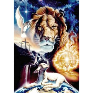 Lion Sheep Full Drill 5D Diamond Round Rhinestone Embroidery Painting DIY Cross Stitch Kit Mosaic Draw Home Decor Gift