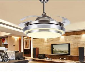 """31 8 9"""" Katlanabilir Görünmez Blades 100-240v görünmez tavan vantilatörleri Modern Krom Yuvarlak Şeklinde LED Tavan Fan Işıklar led ışık"""