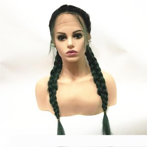 """Twist Braids Wig Black Ombre Brown green blue bug Two Colors Long Synthetic Lace Front Wigs with Baby Hair Heat Resistant 24"""""""