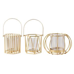 Geométrica de oro Linterna con la manija portable y soporte del cristal del cilindro de alambre de metal vela de los favores de fiesta piezas centrales