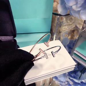 925 t braccialetto diamanti argento femminile apertura a forma di T bis t prende semplice modo del braccialetto elastico trifoglio