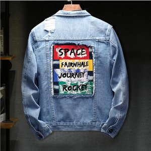 Fashion Designer denim jacket Mens Jacket Clothing streetwear Trendy Jeans Jackets turn-down collar Embroidery Luxury chaqueta hombre coats