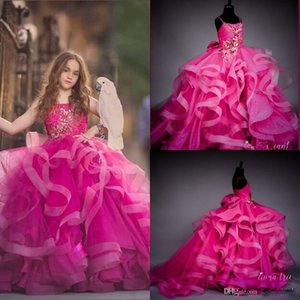 2020 New Fuchsia Spagheti Ball Gown Flower Girl Dresses Vintage Crystal Beaded Girl Formal Party Birthday Pageant Gown Wedding Dresses