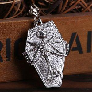 Albtraum vor Weihnachten Keychain Quarz-Taschen-Uhr mit Rucksack Clip-Knopf Laser gravierte Männer Frauen Bronze Sliver Fob Uhren Geschenke
