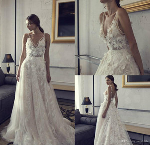 2021 V-Neck Boho Wedding Dresses Backless A Line Lace Tulle 3D Floral Applique Bohemian Party Dress Beaded Sweep Train Bride Gown