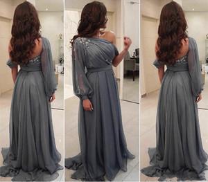 Длинный серый шифон свадьбы мать невесты платье одно плечо с длинным рукавом кристаллов Формальное Случай выпускного вечера партии платья