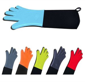 Silicone Oven Mitts Extra Long Professional Silicone Glove with Quilted Liner Barbecue Cooking Baking Grilling Glove Oven Tools DHC158