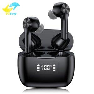 TWS T9 Bluetooth 5.0 Беспроводные наушники Сенсорные наушники Шумоподавление S tereo наушников Водонепроницаемая Спорт гарнитура с LED дисплей