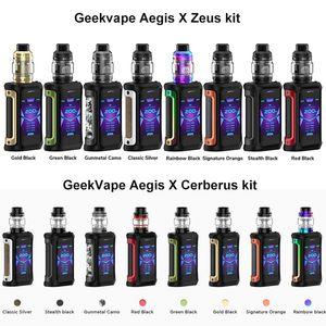 Authentique Geekvape Aegis X 200W TC Kit avec Cerberus réservoir 5,5 ml / réservoir zeus 5ml Propulsé par 18650 cellules
