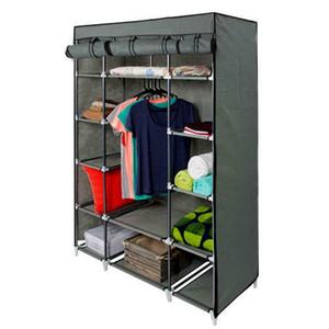 5 strati 12 Compartimento non tessuto armadio casa Camera Assemblato Armadio Grigio portatile Rack Panni bagagli