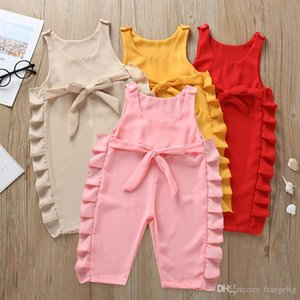 Baby Girls Solid Rompers Candy Color Sleeveless Cotton Starp Lace Jumpsuit Kids Colthes Girls Outfits 0-2T 04