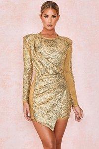 KLEEZY New Gold Sequined с длинным рукавом бинты Bodycon платье женщины ночного клуба партии вечера весна осень зима платья