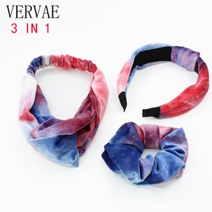 Chouchous Velvet pour femmes Accessoires cheveux fille Tie Dye Bandeau Mignon Maquillage Hoop cheveux Hairband Scrunchie Set 2020 VERVAE