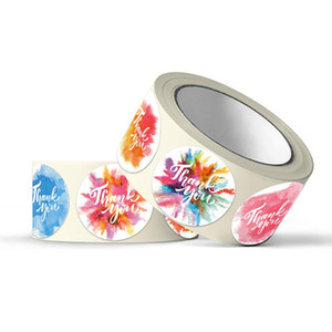 Floral Self Adhesive Thank You Stickers Seal Label Envelope Sticker Business Gift Invitation Bottle Decorate Multi Purpose 4sh D2