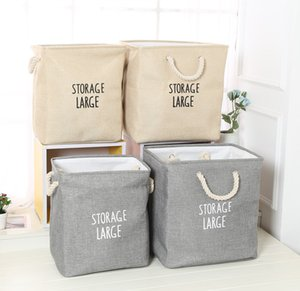 Großhandel Folding Laundry Storage Baskets Box wasserdichte bewegliche Baumwollleinen faltbarer Aufbewahrungstasche Tuch-Spielzeug Snack-Aufbewahrungsbehälter DBC DH0656