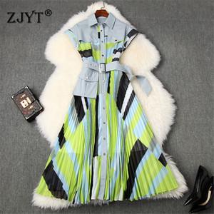 Взлетно-посадочная полоса высокого качества платья лета Дизайнер женской одежды 2020 Мода Turn Down Воротник рубашки Лоскутная Печать Midi Гофрированный платье