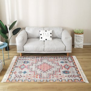 Retro Large Carpet for Living Room Ethnic Bedroom Anti-Slip Rug Macrame Polar Prayer Floor Mat Linen Hand Knot Tassel Carpets