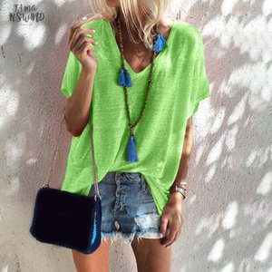 Outdoor Loose Daily V Neck Cool Short Sleeve Casual Solid Women T Shirt Cotton Blend Soft Shopping Street Summer