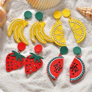 2020 New Fashion Summer Style Handmade Beads Fruit Lemon Drop Earrings Personality Watermelon Earrings for Woman Party Gift