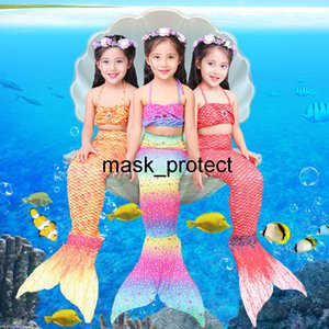 Children tail princess dress girl mermaid clothes swimming suit